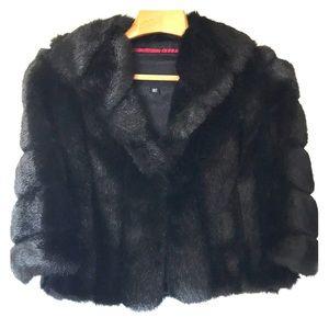 NWOT Banana Republic faux fur cape coat Vegan XS/S